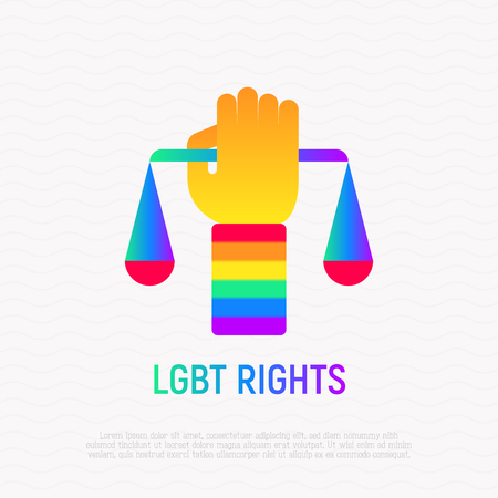 LGBT rights icon: hand with scales and rainbow wristband. Modern vector illustration with gradient.