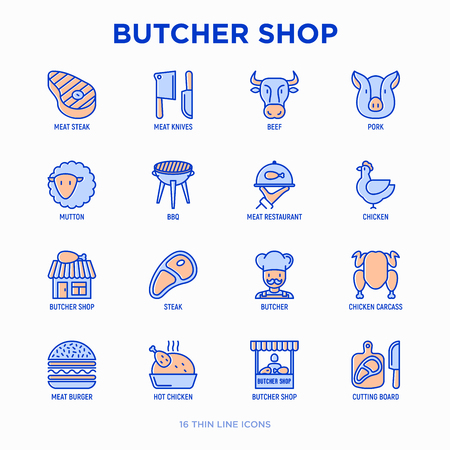 Butcher shop thin line icons set: meat steak, beef, pork, mutton, BBQ, chicken, burger, cutting board, meat knives. Modern vector illustration.