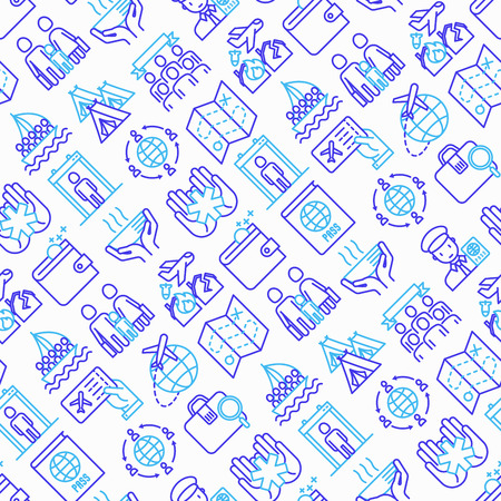 Immigration seamless pattern with thin line icons: immigrants, illegals, baggage examination, passport, international flights, customs, inspection, refugee camp. Modern vector illustration.
