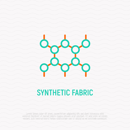 Synthetic fabric thin line icon. Modern vector illustration of material texture. Illusztráció