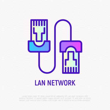 Icône de fine ligne de câble de raccordement. Illustration vectorielle moderne du réseau LAN.