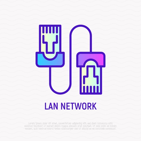 Patch cable thin line icon. Modern vector illustration of LAN network. Illustration