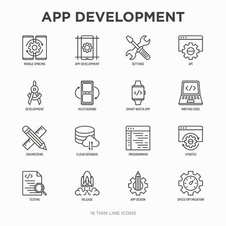 App development thin line icons set: writing code, multitasking, smart watch app, engineering, updates, cloud database, testing, speed optimization, API, design, settings. Modern vector illustration. Vetores