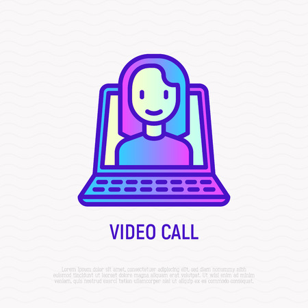 Video call thin line icon: opened laptop with woman. Modern vector illustration of communication, e-learning.