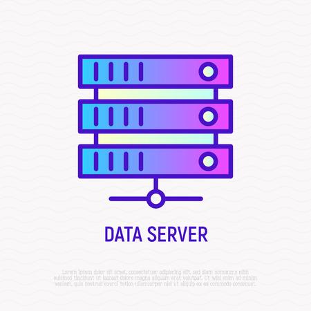 Data server thin line icon. Modern vector illustration.