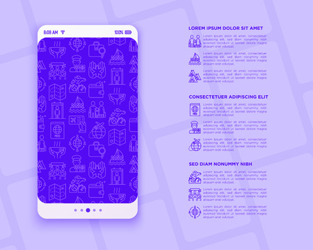 Immigration concept with thin line icons: immigrants, illegals, baggage examination, passport, international flights, customs, inspection, refugee camp, demonstration. Modern vector illustration. Stock Illustratie