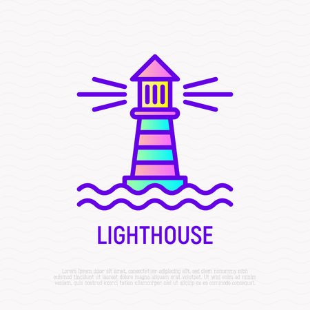 Lighthouse in the sea thin line icon. Modern vector illustration. Vetores