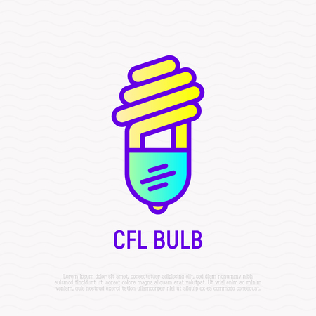 CFL bulb thin line icon. Modern vector illustration.
