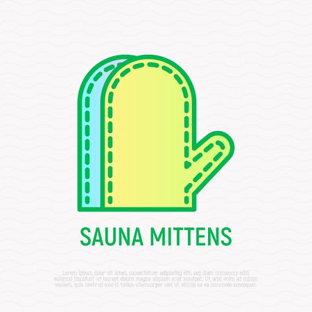Sauna mittens thin line icon. Modern vector illustration.