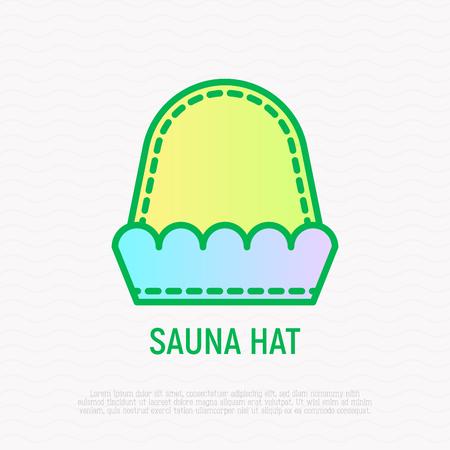 Sauna hat thin line icon. Modern vector illustration of SPA accessory. Illustration