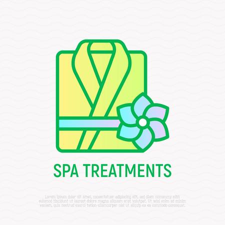 Folded bathrobe thin line icon. Modern vector illustration of SPA treatments.