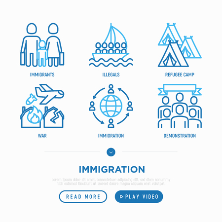 Immigration thin line icons set: immigrants, illegals,  boat, war, refugee camp, protest. Modern vector illustration. Stock Illustratie
