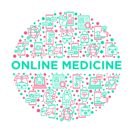 Online medicine, telemedicine concept in circle with thin line icons: pill timer, ambulance online, medical drone, tracker, mHealth, messenger, check symptomps. Modern vector illustration. Ilustração