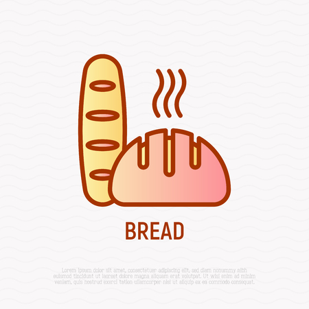 Bread thin line icon. Modern vector illustration of bakery.