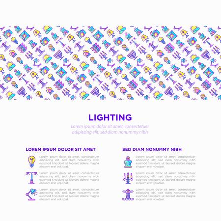 Lighting concept with thin line icons: bulb, LED, CFL, candle, table lamp, sunlight, spotlight, flash, candelabrum, bonfire, menorah, lighthousep. Modern vector illustration, print media template.