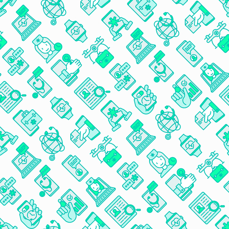 Online medicine, telemedicine seamless pattern with thin line icons: pill timer, ambulance online, medical drone, tracker, mHealth, messenger, check symptomps. Modern vector illustration.