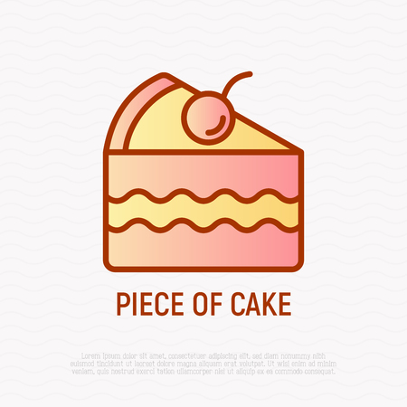 Piece of cake with berry. Thin line icon. Modern vector illustration of bakery.