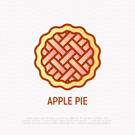 Apple pie thin line icon. Modern vector illustration of bakery.