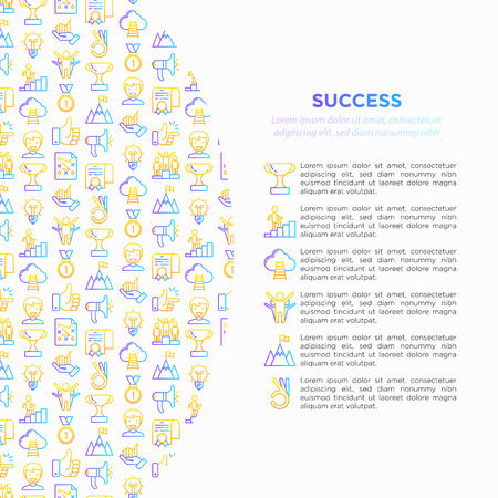 Success concept with thin line icons: trophy, idea, mountain peak, career, bullhorn, strategy, ladder, winner, medal, award, good choice, easy, certificate. Vector illustration, print media template. 일러스트
