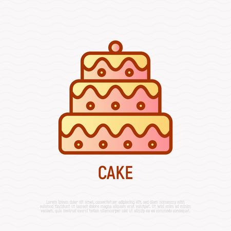 Layered cake thin line icon. Modern vector illustration of wedding dessert.