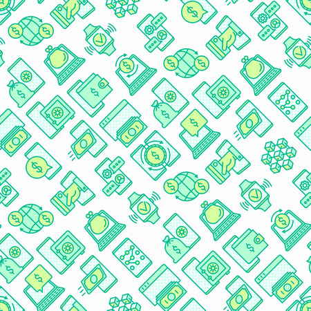 Online banking seamless pattern with thin line icons: deposit app, money safety, internet bank, contactless payment, credit card, online transaction. Modern vector illustration for background. Çizim