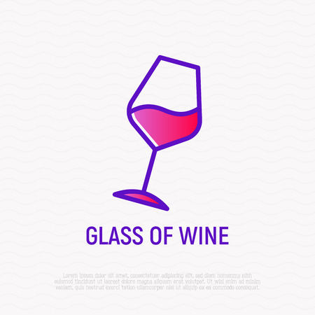 Inclined glass of wine thin line icon. Modern vector illustration for bar logo.