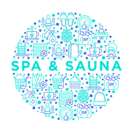 Spa & sauna concept in circle with thin line icons: massage oil, towels, steam room, shower, soap, pail and ladle, hygrometer, swimming pool, herbal tea, birch, whisk. Vector illustration.