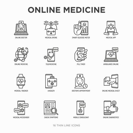 Online medicine, telemedicine thin line icons set: pill timer, ambulance online, medical drone, medical tracker, mHealth, messenger, check symptomps, mobile consultant. Modern vector illustration. Çizim