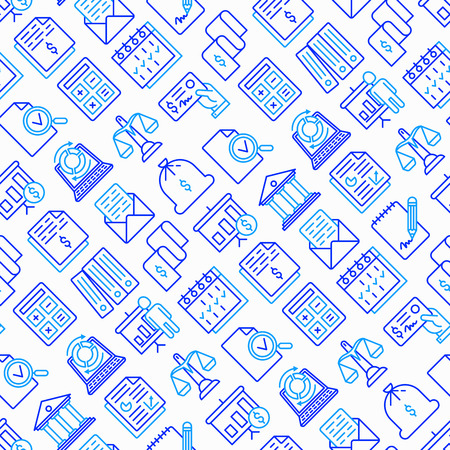 Financial report seamless pattern with thin line icons set: bank, financial analytics, calculate, signature, email, presentation, bank check, audit, calendar. Modern vector illustration. Çizim