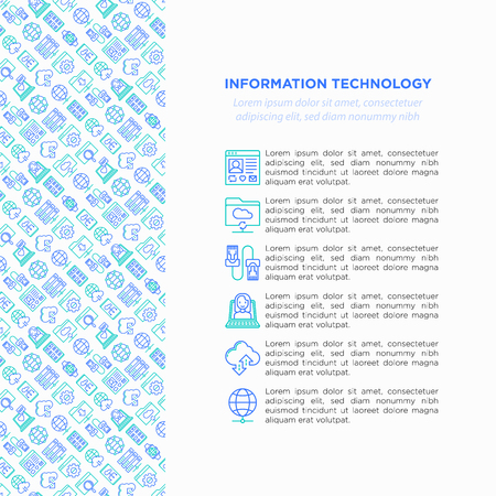 Information technology concept with thin line icons: social network, system backup, search, LAN network, connection, API, feedback, video call, online news. Vector illustration, web page template.