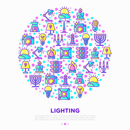 Lighting concept in circle with thin line icons: bulb, LED, CFL, candle, table lamp, sunlight, spotlight, flash, candelabrum, bonfire, menorah, lighthouse. Vector illustration, print media template.