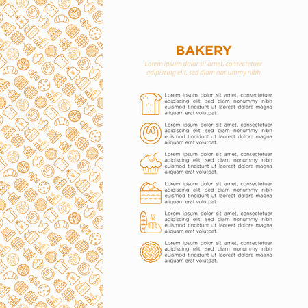 Bakery concept with thin line icons: toast bread, pancakes, flour, croissant, donut, pretzel, cookies, gingerbread man, cupcake, burger, apple pie, pizza. Vector illustration, print media template.