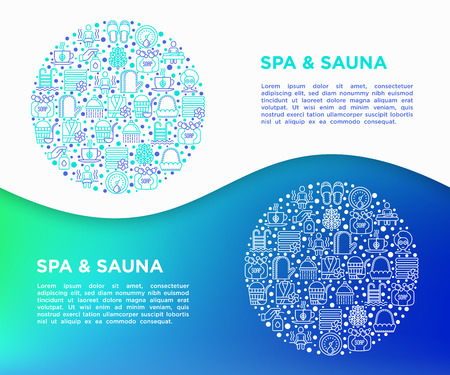 Spa & sauna concept in circle with thin line icons: massage oil, towels, steam room, shower, soap, pail and ladle, hygrometer, swimming pool, herbal tea. Vector illustration, print media template