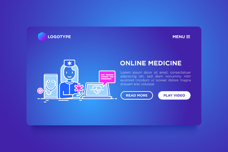 Online medicine concept: doctor consulting by video call. Thin line icons. Modern vector illustration, web page template on gradient background.