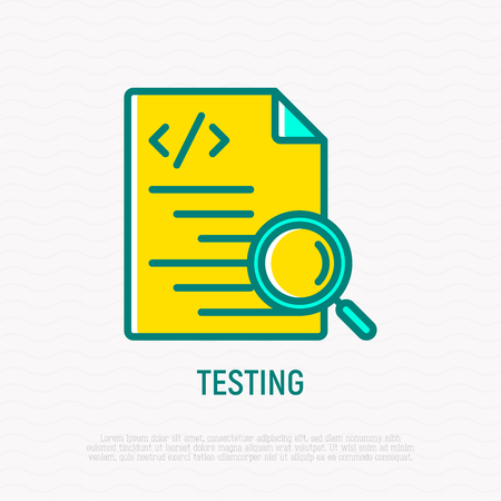 Testing software: code with magnifier thin line icon. Modern vector illustration.
