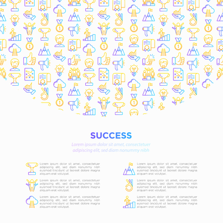 Success concept with thin line icons: trophy, idea, mountain peak, career, bullhorn, strategy, ladder, winner, medal, award, good choice, easy, certificate. Vector illustration, print media template. Çizim