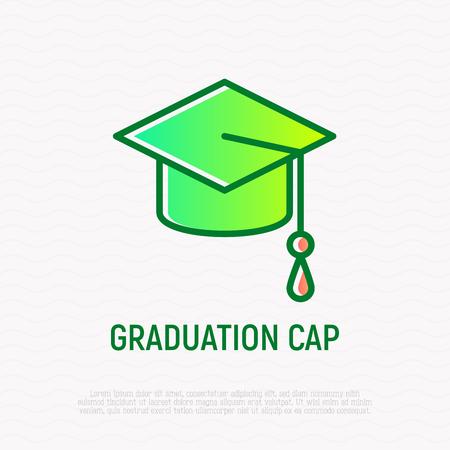 Graduation cap thin line icon. Modern vector illustration of school, college or university symbol. Çizim