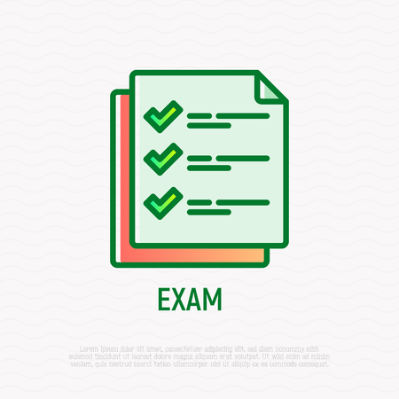 Exam thin line icon: list with checkmark. Modern vector illustration. Çizim