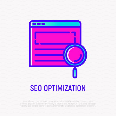 SEO optimization thin line icon: magnifier on web page. Modern vector illustration.
