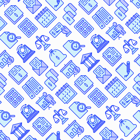 Financial report seamless pattern with thin line icons set: bank, financial analytics, calculate, signature, email, presentation, bank check, audit, calendar, income, balance. Vector illustration. Çizim