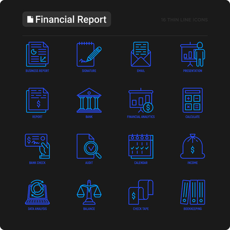 Financial report thin line icons set: bank, financial analytics, calculate, signature, email, presentation, bank check, audit, calendar, income, balance, check tape, bookkeeping. Vector illustration. Çizim