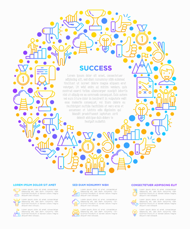 Success concept in circle thin line icons: trophy, idea, mountain peak, career, bullhorn, strategy, ladder, winner, medal, award, good choice, easy, certificate. Vector illustration, web page template