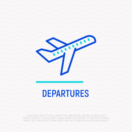 Take-off plane thin line icon, symbol of departures area in airport. Modern vector illustration. Çizim