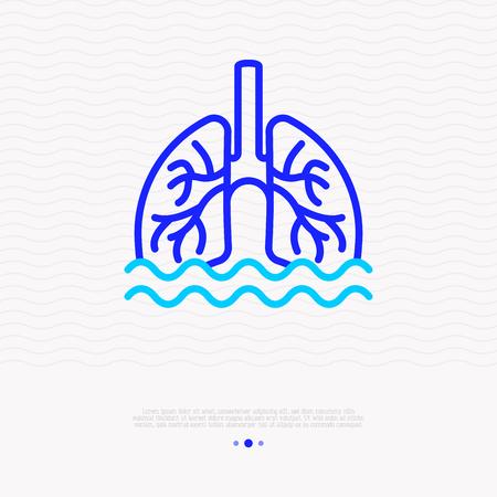 Phlegm, sputum in lungs thin line icon. Modern vector illustration of pneumonia symptom.