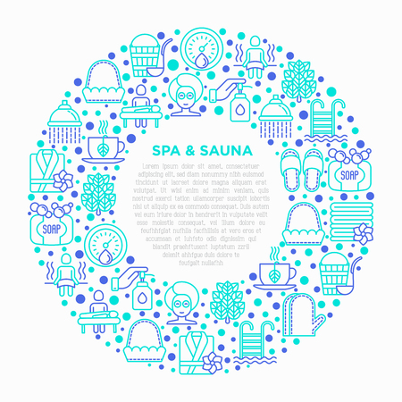 Spa & sauna concept in circle with thin line icons: massage oil, towels, steam room, shower, soap, pail and ladle, hygrometer, swimming pool, facial mask. Vector illustration, print media template. Standard-Bild - 124943271