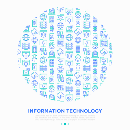 Information technology concept in circle with thin line icons: social network, system backup, search, LAN network, connection, API, feedback, video call, online news. Vector illustration.