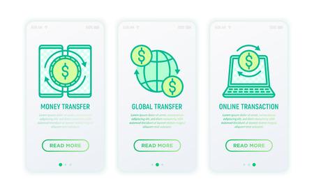 Online banking thin line icons: money transfer, global transfer, online transaction. Modern vector illustration for user mobile app.