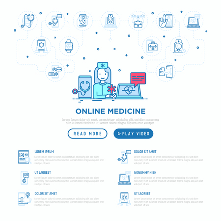 Online medicine concept: doctor consulting by video call. Thin line icons. Modern vector illustration, web page template.