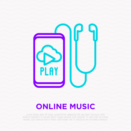 Earphones and smartphone with online music thin line icon. Modern vector illustration.
