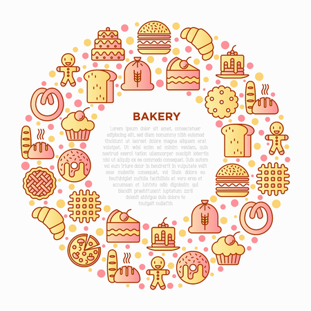 Bakery concept in circle with thin line icons: toast bread, pancakes, flour, croissant, donut, pretzel, cookies, gingerbread man, cupcake, pizza, waffle. Vector illustration, print media template.